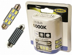 Ring 6 LED 12V 41mm Number Plate & Interior Ice White Festoon Bulbs RW2646LED
